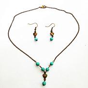 Vintage Torquise Heart Jewelry Set(Earrings,Necklace)