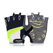 KORAMAN Unisex Cycling Gloves fingerless Green Protection Pad Anti-skid Black Half Finger Gloves