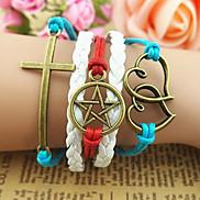Vintage Star Cross Heart 20cm Unisex Multicolor Leather Wrap Bracelet(1 Pc)