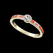 Wholesale Gold Plated and Enamel Rhinestone Simple Ring for Women