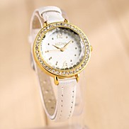 Women's Large Dial Stylish Leisure Watch Ball Rhinestone Leather Watch(Assorted Color)
