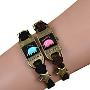 Galaxy Retro Handmade DIY Lover Time Multicolor Alloy Glass Leather Warp Bracelet(1 Pc)(Black,Brown)(As Picture 9)
