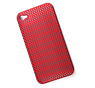 Meshed Plastic Back Case for iPhone 4 - Red