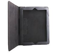 étui en cuir litchi de grain mince d'unité centrale et support pour iPad 2/3/4 - noir