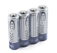 Bie 2500mAh NH-AA HR6 ensemble batterie rechargeable (4-pack)