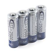 BTY 2500mAh nh-aa HR6 conjunto de bateria recarregável (4-pack)