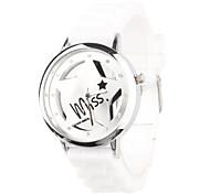 Unisex Quartz Uhr Mit Kristall Dekoration und Hohlgravur (Weiß)