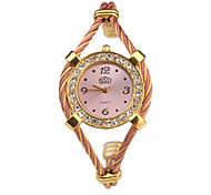 Quartz Watch with Metal Rope Watch Strap - Pink