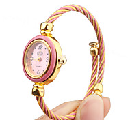 Quartz Watch with Metal Rope Watch Strap - Pink Face