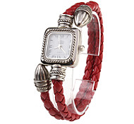 PU Rope Band Quartz Bracelet Watch For Women(Red)