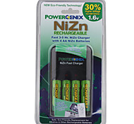 Fast 3-5Hrs Power Enix Nizn Charger with 4 AA Batteries