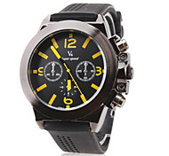 Men's Racing Style Black Dial Silicone Band Quartz Wrist Watch