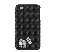 Protective Hard Case with Crystals for iPhone 4 (Little Dog)