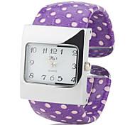 Women's PU Analog Quartz Bracelet Watch (Purple)