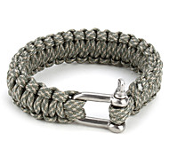 Para-Cord Survival Bracelet with Aluminium Connection Buckle (Grey)