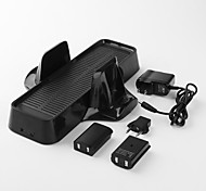3-In-1 Console Stand and Charger with 2 Battery Packs for Xbox 360 Slim (1800mAh, Black)