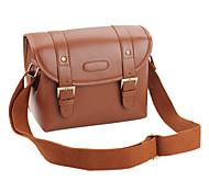 bolso de la lona videocámara cámara con cuero de la PU para SLR miniatura (marrón)