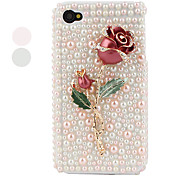 Metal Rose Styled Protective Case for iPhone 4 and 4S (Pink)
