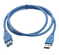 USB 3.0 macho a hembra cable de extensión a bis (1 m, azul)