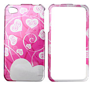 White Heart Pattern Style Back Case and Bumper Frame for iPhone 4 and 4S (Pink)