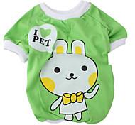 мультфильм кролик стиль футболки для собак (XS-XL, зеленый)
