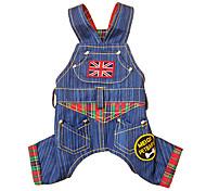 Dog Pants Blue Dog Clothes Spring/Fall National Flag Fashion