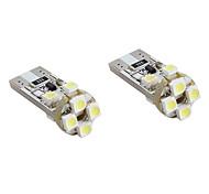 t10 8x1210 SMD LED blanche ampoule pour feux de signalisation canbus voiture (2-pack, DC 12V)