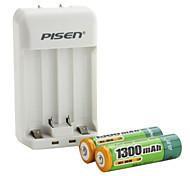 Pisen aa aaa cargador de batería con 2 x 1300mAh batería Ni-MH AA recargables