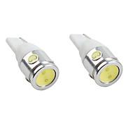 t10 luz 2.5W 200-220LM blanco bombilla LED para lámparas de coches (2-pack, dc 12v)