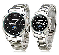 Pair of Black Starry Sky Alloy Analog Quartz Couple's Watches (Silver)