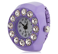 Women's Big Diamond Style Alloy Analog Quartz Ring Watch (Purple)