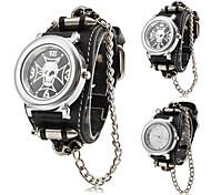 Men's Punk Style Skull Pattern Black PU Band Quartz Wrist Watch (Assorted Colors)