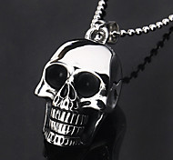 Eruner®Titanium Steel Black Skull Head Style Pendant Necklace