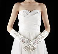 raso / pizzo mano lunghezza gomito con i guanti da sposa strass (altri colori)