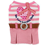 Striped Style Dress with Belt for Dogs (XS-XL, Pink)