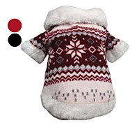 Dog Coat Red / Black Winter Snowflake