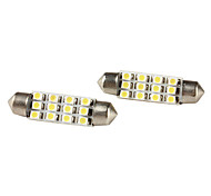 41mm 1210 SMD 12-LED blancas bombillas festoon de luz para coche (12V DC, 2-pack)