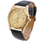 Männer pu analoge mechanische Casual Uhr (gold)