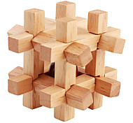 Bead-in-Cage Wooden Puzzle Brain Teaser IQ Cube Toy