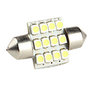 31mm 0.84W 1210 SMD 12-LED White Light Festoon Bulb for Car Lamps (DC 12V)