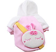 Pink Hoodie with Rabbit Bag for Dogs (XS-XL)