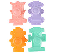 Fondant Cake DIY Decorating 3D Plunger Cutter Tools Robots Theme (Random Color, 4-Pack)