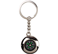 Metal Silver Cool Compass Keychain