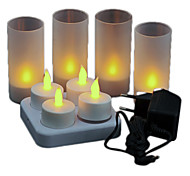 Warm Yellow Light LED Rechargeable Flameless Tea Light Candles (4-Pack)