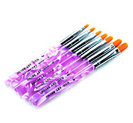 7PCS 2in1 Acrylic&UV Gel Brush Set Nylon Hair Water Pattern Purple Transparent Acrylic Handle Nail Art