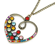 Colorful Crystal Heart Alloy Frame Necklace