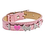 Dog Collars Pink PU Leather