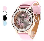 analogico 3 farfalle modello pu banda orologio da polso al quarzo da donna (colori assortiti)