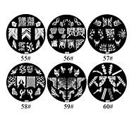 Flores de metal 1PCS 2D Nail Art Placa selo de imagem (cores sortidas, No.55-60)