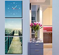 moderno reloj de pared escénica en la lona 3pcs k0060